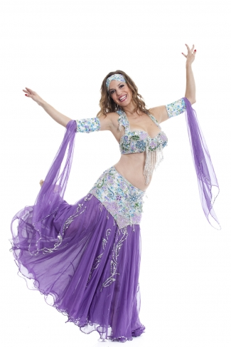 Couture belly dance costume - Summer Blossom