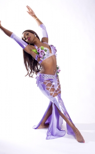 Couture belly dance costume - Rose Romance