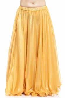 Deluxe chiffon belly dance skirt - yellow with sheen