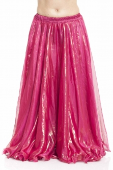 Deluxe chiffon belly dance skirt - pink with sheen