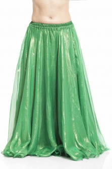 Deluxe chiffon belly dance skirt - green with sheen