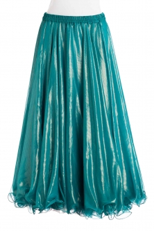 Deluxe chiffon belly dance skirt - turquoise with sheen