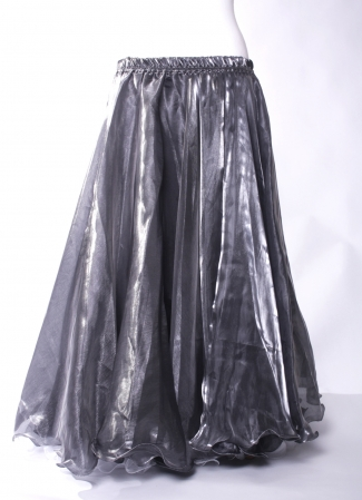 Deluxe organza circular skirt - steel with silver glow