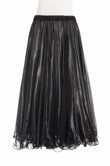 Deluxe chiffon circular skirt - black + sheen