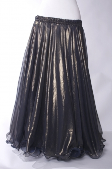 Deluxe chiffon circular skirt - black + gold sheen