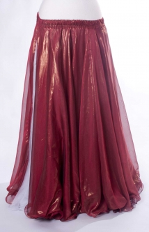 Deluxe chiffon circular skirt - dark red + sheen