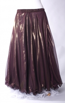 Deluxe chiffon circular skirt - plum + gold sheen