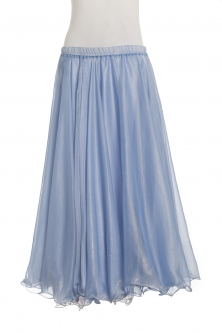 Deluxe chiffon circular skirt - powder blue + mellow gold sheen