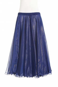 Deluxe chiffon circular skirt - royal blue + gold sheen