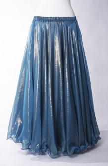 Deluxe chiffon circular skirt - turquoise + deep gold sheen