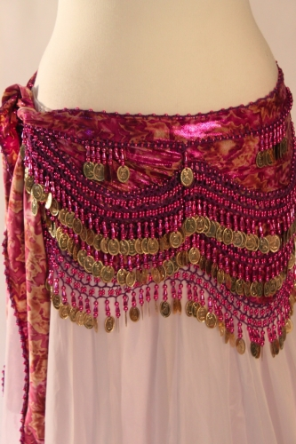 Funky lycra belly dance belt - Fuschia Magic