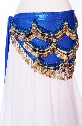 Funky lycra belly dance belt - The Deep Blue