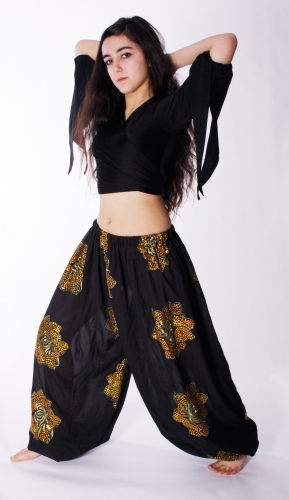 Gold sequinned flowers on black harem gypsy pants