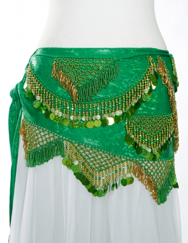 Funky lycra belly dance belt - Green Spangles