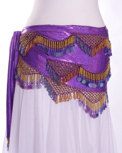 Funky lycra belly dance belt - Purple Spangles