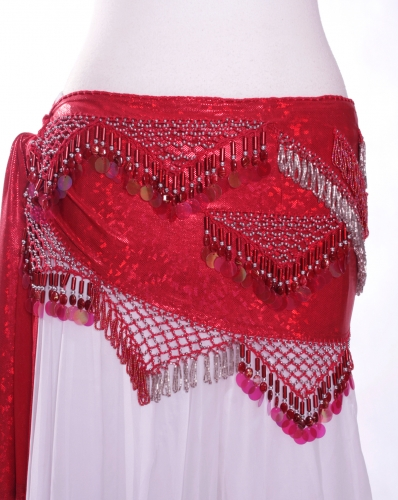 Funky lycra belly dance belt - Red Spangles