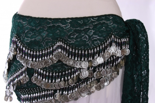 Lace belly dance belt - Deep Green