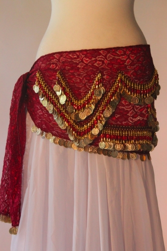 Lace belly dance belt - Red