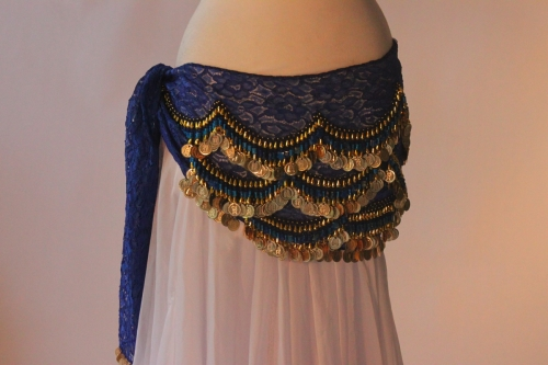 Lace belly dance belt - Blue