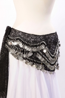 Lace belly dance belt - Black