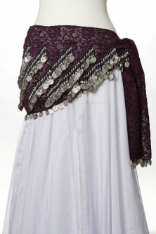 Lace belly dance belt - Purple
