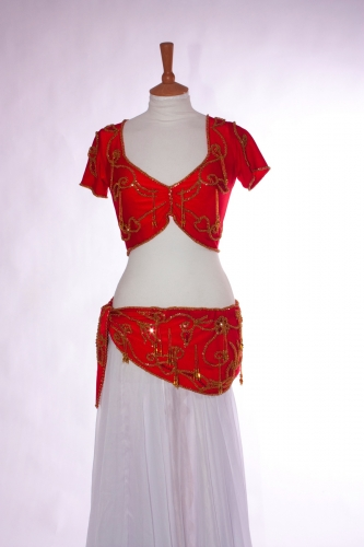 Belly dance two piece lycra practice set in       Red and gold