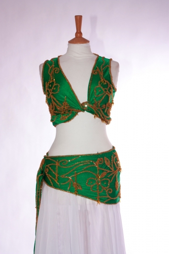 Belly dance two piece lycra practice set in Emerald and gold