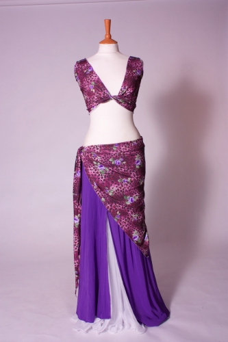 Lycra three piece belly dance practice set Purple Leopard print