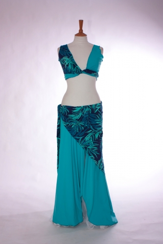 Lycra three piece belly dance practice set Marine Blue