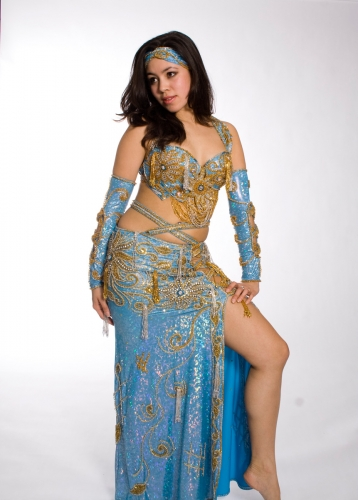 Belly dance costume - Metallic Oceana