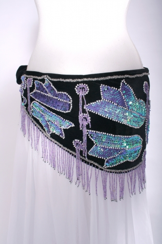 Pharonic style velvet fringed belly dance belt