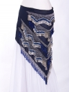 Rich large chiffon triangles belly dance belt - Navy Sparkle