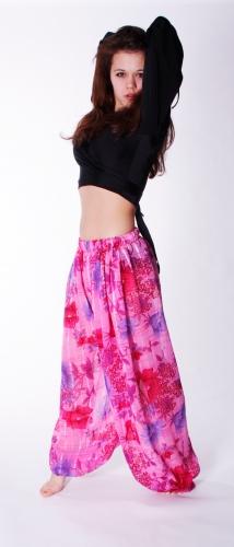 Pink floral print harem gypsy pants