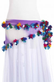Pom pom belts/head scarves for belly dance