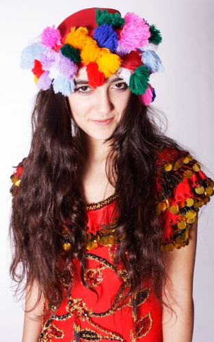 Pom pom head scarves for belly dance