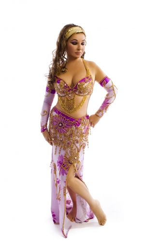 Belly dance cabaret costume - Purple Daisy