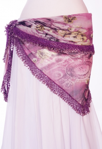 Purple floral print crocheted edge belly dance belt