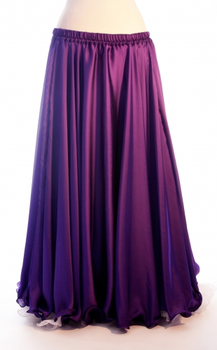 Purple silk belly dance skirt