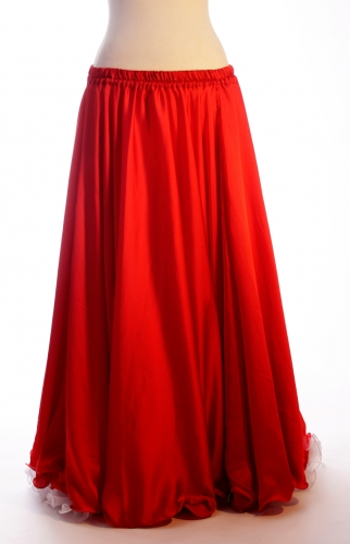 Red silk belly dance skirt