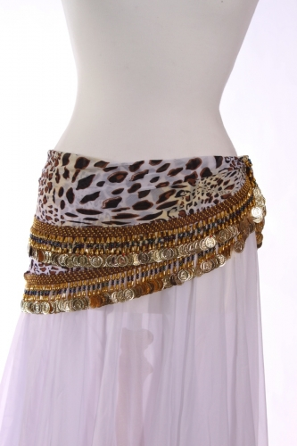 Rich coin edge triangle belly dance belt leopard
