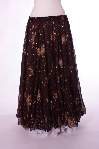 Belly dance printed skirt - mocha and cream