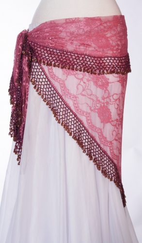 Rose lace crocheted edge belly dance belt