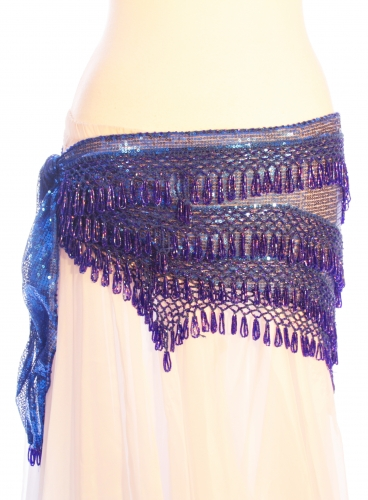 Sequinned net belts with rich crochet detail