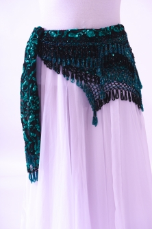 Sequinned net belt with rich crochet detail