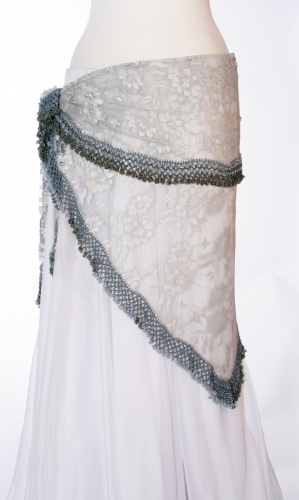 Silver lace crocheted edge belly dance belt