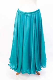 Teal silk belly dance skirt