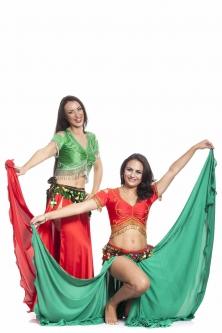 Teal green silk belly dance skirt