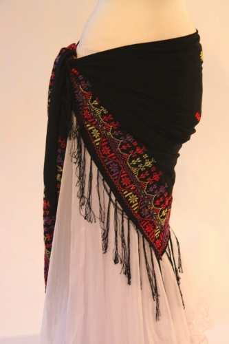 Tribal dance scarf embroidered wrap