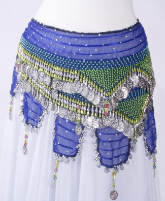 Thigh length long chiffon belly dance belt