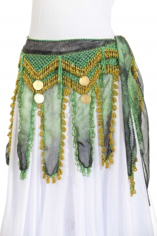 Knee length long chiffon belly dance belt